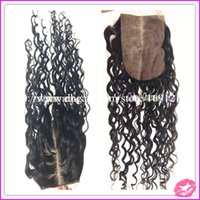 Cheap 4*4 Brazilian Hair Silk Closure Brazilian Deep Wave Silk Base Closure Middle Part Lace Top Closure with Bleached Knots Human Closure Piece