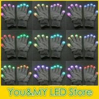 Wholesale Christmas Decoration Pairs White Black Fabric Modes Colors Changeable Flashing Led Gloves Rave Light LED Finger Lighting Glove