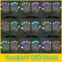Wholesale Christmas decoration pairs black fabric Modes colors changeable flashing led gloves Rave Light LED Finger Lighting Glove