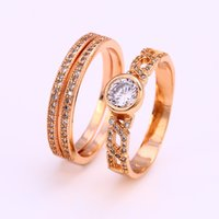 Wholesale Women White Cublic Zircon Cluster Couple Rings Copper Jewelry Ring Xuping Environmental Copper Jewelry Plated With k Gold