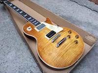 achat en gros de miel éclatement guitare-2,015 New Jimmy Page Guitare VOS 1958 Fat cou droit flambé citron éclaté Honey Burst Chine l'un col de pièces acajou Guitare corps