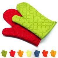 Wholesale Microwave oven gloves insulation silicone oven mitts Non slip kitchen BBQ cooking gloves bakeware cake tool Q