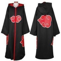 black hooded cloak - Anime Naruto Akatsuki members Cool black red cloud pattern high collar hooded cloak cosplay costume Halloween clothing