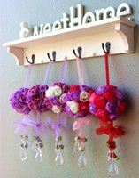 Wholesale Handmade colors Wedding silk Rose Flowers Ball Pom Poms With Crystal Pendants For Wedding Home Decoration JJ