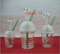 Wholesale 100 BBA5647 Glass Bong Starbucks Rig Dabuccino Cup Oil Rig Glass Water Pipes Joint Size CM starbucks cup glass water Cup bong Starbucks
