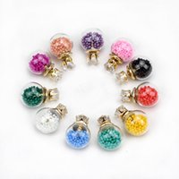 crystal earrings - 2015 Transparent Hollow Glass Ball Earrings Double Side crystal Colored beads Stud Earrings fashion Jewelry For Women girls