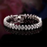 Wholesale Summer Style Fashion Sterling Silver Roman Chain bracelets bangles Shiny CZ diamond Heart shape charm bracelets for women