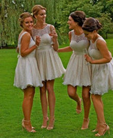 maid of honor dress - 2015 Elegant Short Lace Bridesmaid Dresses With Sheer Bateau Neck A Line Above Knee Maid Of Honor Dress For Summer