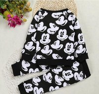 Wholesale new Mickey Mouse cartoon Two Pieces Children Outfits Sets leggings pants baby kids boys clothing girls clothes long sleeve