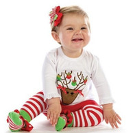 striped pants clothing - DHL EMS FEDEX Hot Baby Girls New Years Christmas Deer stripes Pattern Sets T shirt Long Stripe Pants Child Girl Clothes Outfits L0751
