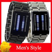 Wholesale 2015 New Fashion Mens Watches Iron Man Waterproof Binary LED Lava Watches For Men Promotion Birthday Gift PC