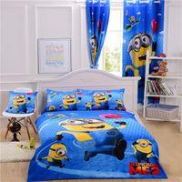 Wholesale 5 sets Cartoon Minions Bedding Sets Despicalble Me Bedding Single Kids Bedclothes Curtain Duvet Cover Sheet Pillow Case Double Queen