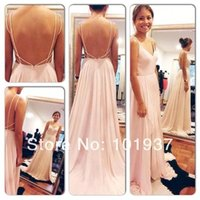 Wholesale Brush Pink Sexy Backless Maxi Party Dresses Spaghetti Straps V Neck Pink Open Back Prom Dress Hot Chiffon Evening Dresses long bo5385