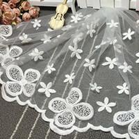 1 Quintal guarnição elegante Tulle malha de costura bordado em vestido de casamento branco DIY Lace Fabric Vestuário Acessórios YR0054 smileseller