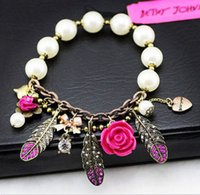 Wholesale Betsey Johnson Crystal Feather Flower Pendant White Beads Stretch Bracelet0BJ215