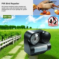 motion activated sound - PIR Infrared Motion Sensor Activated Bats Birds Pigeon Repeller Repellent Ultrasonic Wave Sound Gunshot Flashlight Square M