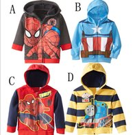 coat zippers - 2015 Autunmn New Children Casual Coat Korean Style Boys Hoode Jacket Cartoon Printed Kids Clothes With Zipper Age T1038