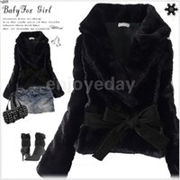 apricot hairs - Winter Fashion Women Faux Fur Coat Rabbit Hair Short Warm Coat Jacket Fluffy Outwear with Belted Black Gray Apricot
