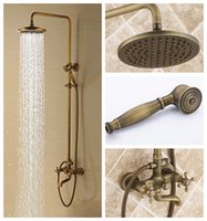 Wholesale Antique rain shower faucets set with hand shower brass wall mounted shower mixer for bathroom