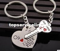Wholesale quot I Love You quot Heart Arrow Key Couple Key Chain Ring Keyring Keyfob For Lover