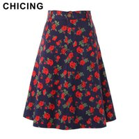 Cheap CHICING 2015 Summer Vintage Floral Print Flared Skirt Ball Gown Pleated High Waist Tutu Midi Skater Skirt With Pockets A1505029