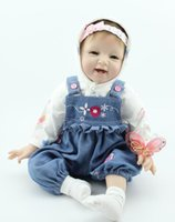 "Cheap 22"" Reborn baby girl doll handmade doll soft silicone vinyl simulation baby doll realistic baby toys for kids"