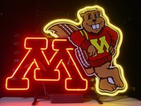 Wholesale NEW MINNESOTA GOLDEN GOPHERS NEON SIGN REAL GLASS TUBE BEER BAR PUB Light Signs store display