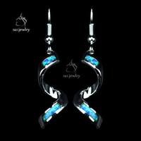 Wholesale New Design Luxury Opal Gem Sterling Silver Earrings Shiny Spiral Long Drop Earrings For Women EU Fashion Jewelry Gift ER034