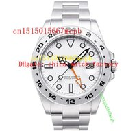 whites gmt - Top quality Luxury Explorer II GMT White Dial Stainless Steel Automatic Mens Men s Watch Watches