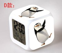 Wholesale The Penguins of Madagascar desk table clocks Colorful flash touch lights cartoon kids toys action figure digital alarm clock customization