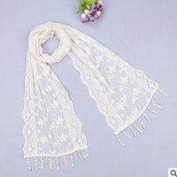 Wholesale 100PCS LJJL25 Lady Triangle Silk Scarf New Fashion Scarf Tassel Flower Lace Scarves Wrap Shawl Mantilla