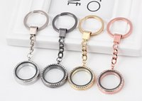 Wholesale 10PCS MM Rhinestones Round Floating Locket Key Chains Glass Living Magnetic Charms Locket Keychain