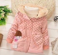 Cheap Wholesale -Winter Kids Coat Outwear Thicken Girl Jacket Polka Dots Children Cotton Coat