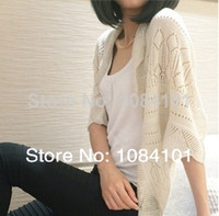 Wholesale new fashion women thin cardigan sweater hollow bat sleeve Casual sun shirt air conditioned shirt blouse shawl femalesy031904