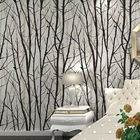 art deco bath - Birch Tree Branches Embossed Wallpaper Dine Room Hallway Bath Room Wall Paper Mural Art Deco Wallcovering Black White Roll M