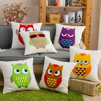 Wholesale owls printed cotton pillow cushions cover case vintage retro handmade owl pillowcases decorative throw pillows for sofa Hotel