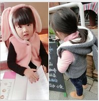 Wholesale Winter children Outerwear Coats Girls faux fur Vest Baby Hooded Bow thicken Kids Wear Girl Warm Flannel Cloth Infantis