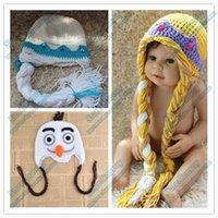 Wholesale Newest Frozen Girls Elsa Anna Olaf Winter Hat Crochet Hats Caps for Kids Children Cartoon Warm Hat with Plait colors MZ09