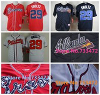 baseball shirts designs - Cheap John Smoltz Jersey Atlanta Braves Shirts White Blue Red Newest Fashion Design Sport Shirts Fast