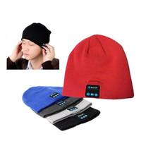 Wholesale Free DHL Men Women Soft Winter Beanie Hats Wireless Bluetooth Smart Cap Headphone Headset Speaker Mic Headgear Knitted Cap More Colour