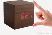 desktop wooden - Cheap Cube Wooden LED Alarm Clock Temperature Sounds Control display electronic desktop Digital Wooden table clocks Creative