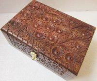 Wholesale India and Pakistan antique walnut sandwich with whole dimensional wooden beads handmade jewelry box treasures