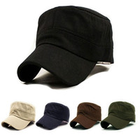 Wholesale Spring new outdoor fashion solid color cotton flat cap sports cap hat hip hop hat men and women Military Hats
