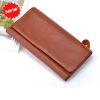 ans photo - New Arrival Fashion Folding Clutch Wallets Women Purse First Layer Genuine Leather Envelope Bag Multi card Gifts ANS PL