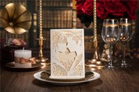 Wholesale 2015 Unique Customizable White Hollow Wedding Invitation Card With Supplies Free Printable Cards Foil Stamping Vintage Wedding Invitations