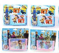 bag tags kids - 2in1 Children Watches Wallet Cartoon Frozen Minions Sport Watch Quartz Purse Leather Wallets bags Cute Kids Christmas Gift Sofia