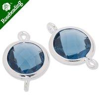 glass faceted gemstones - 11 x17 mm framed glass metal framed glass Faceted glass montana connectors gemstone bezel Sold C3671