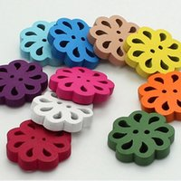 antique sewing buttons - Deal mm Flower Shape Candy Color Mix Wood Buttons Kid Children Diy Sewing Craft Arts Designer Tools Multicolor