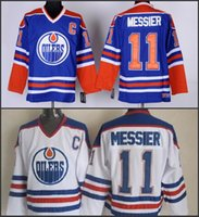 Wholesale cheap Edmonton Mark Messier Jersey Cheap Hockey Jerseys Home Blue White Authentic Stitched Jersey S XL