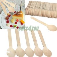 Wholesale 100 pieces Economical Disposable Wooden Spoons Western Food Spoons Ice Cream Spoon Tableware Cutlery BHU2